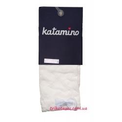 """Носки капроновые с узором для девочки тм""""Katamino"""" Seren белый бантик"""