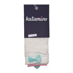 """Носки капроновые с узором для девочки тм""""Katamino"""" Seren бирюзовый  бантик"""