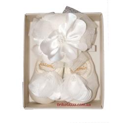 """Носки праздничные для новорожденной девочки м""""Katamino"""" , Bandana Patik белые"""