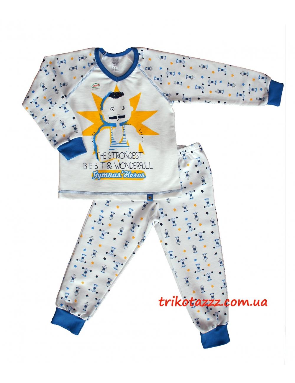 """Пижама теплая для мальчика тм""""Смил""""  Силач белая"""