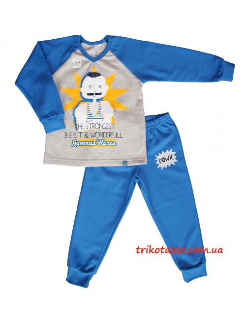 """Пижама теплая для мальчика тм""""Смил""""  Силач синяя"""