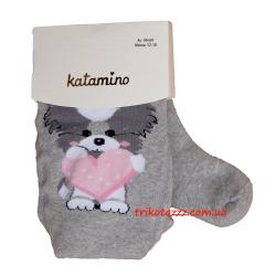 """Детские махровые колготки для девочки серые тм""""Katamino"""" Suzzy Baby Havlu Собачка с сердечком"""