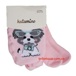 """Детские махровые колготки для девочки тм""""Katamino"""" Suzzy Baby Havlu Собачка на розовом"""