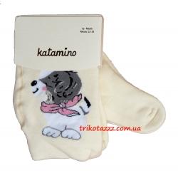 """Детские махровые колготки для девочки кремовые тм""""Katamino"""" Suzzy Baby Собачка на кремовом"""