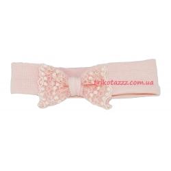 """Праздничная повязка на голову для девочки с кружевным бантом тм""""Смил"""" розовая"""