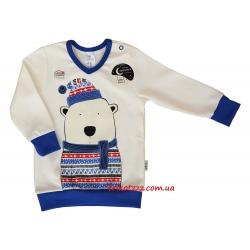 """Пижама для маленького мальчика с светящим эффектом с легким начесом  тм""""Смил"""" Мишка белая"""