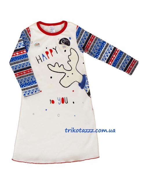 """Ночная рубашка со световым эффектом для девочки с легким начесом тм""""Смил"""" Лосяша белая"""