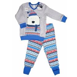 """Пижама для маленького мальчика светящаяся с легким начесом тм""""Смил"""" Мишка серая"""