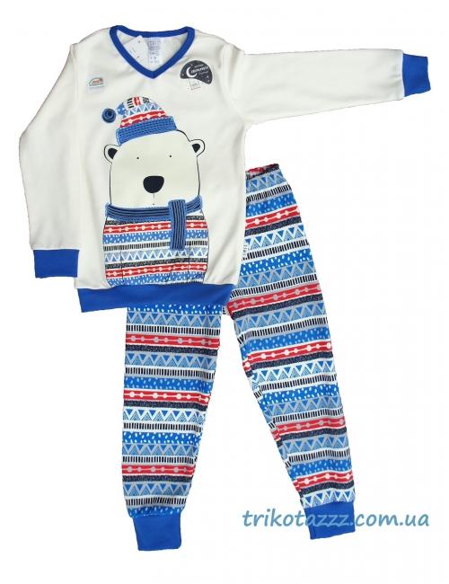 """Пижама для мальчика светящаяся с легким начесом тм""""Смил"""" Мишка белая"""