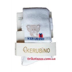 """Колготки для мальчика и девочки тм """"Kerubino"""" белые с мишкой"""