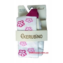 """Колготки для  девочки тм """"Kerubino"""" Белые с цветочками"""