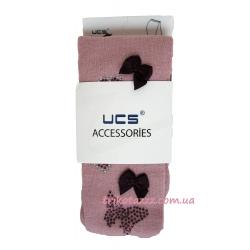 """Нарядные колготки для девочки со стразами тм""""UCS"""" марсала с бабочками"""