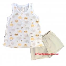 """Детская летняя пижама для девочки тм""""Смил"""" Маски серые"""