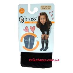 """Детские капроновые колготки с имитацией чулок для девочки тм""""Bross"""" черные"""
