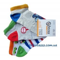 """Короткие носки для мальчика 3шт тм""""Bross"""" поезда"""