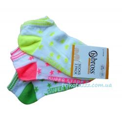 """Короткие носки для девочки 3шт тм""""Bross"""" неоновые звезды"""
