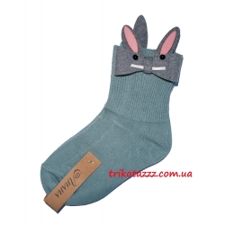Детские носки для девочки Зайчики бирюзовые