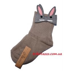 Детские носки для девочки Зайчики античная бронза