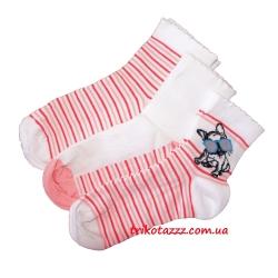 Набор носков для девочек (подростков) 3шт в коробке белые с собачкой UCS