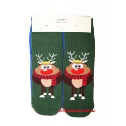 Набор носков новогодних для девочек (подростков) 2 пары на планшетке Ekmen Олень на зеленом