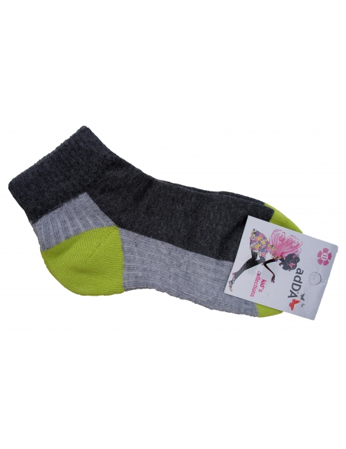 Детские короткие носки для девочек с махровой стопой Addа зеленая пяточка