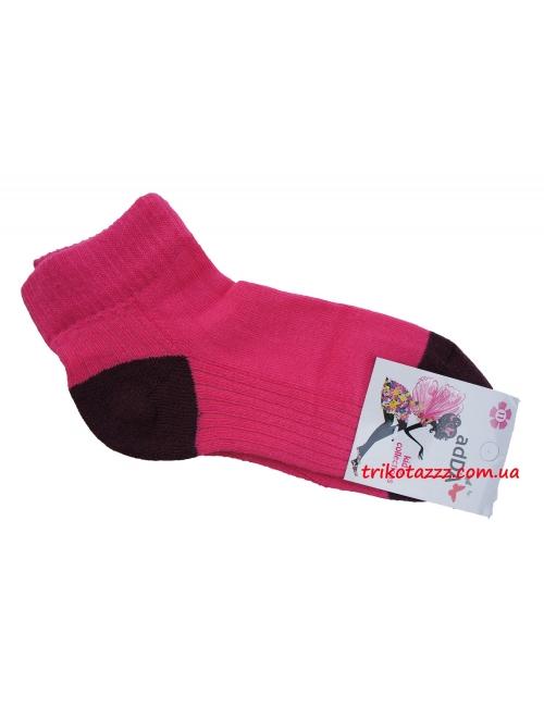 Детские короткие носки для девочек с махровой стопой Addа малиновые
