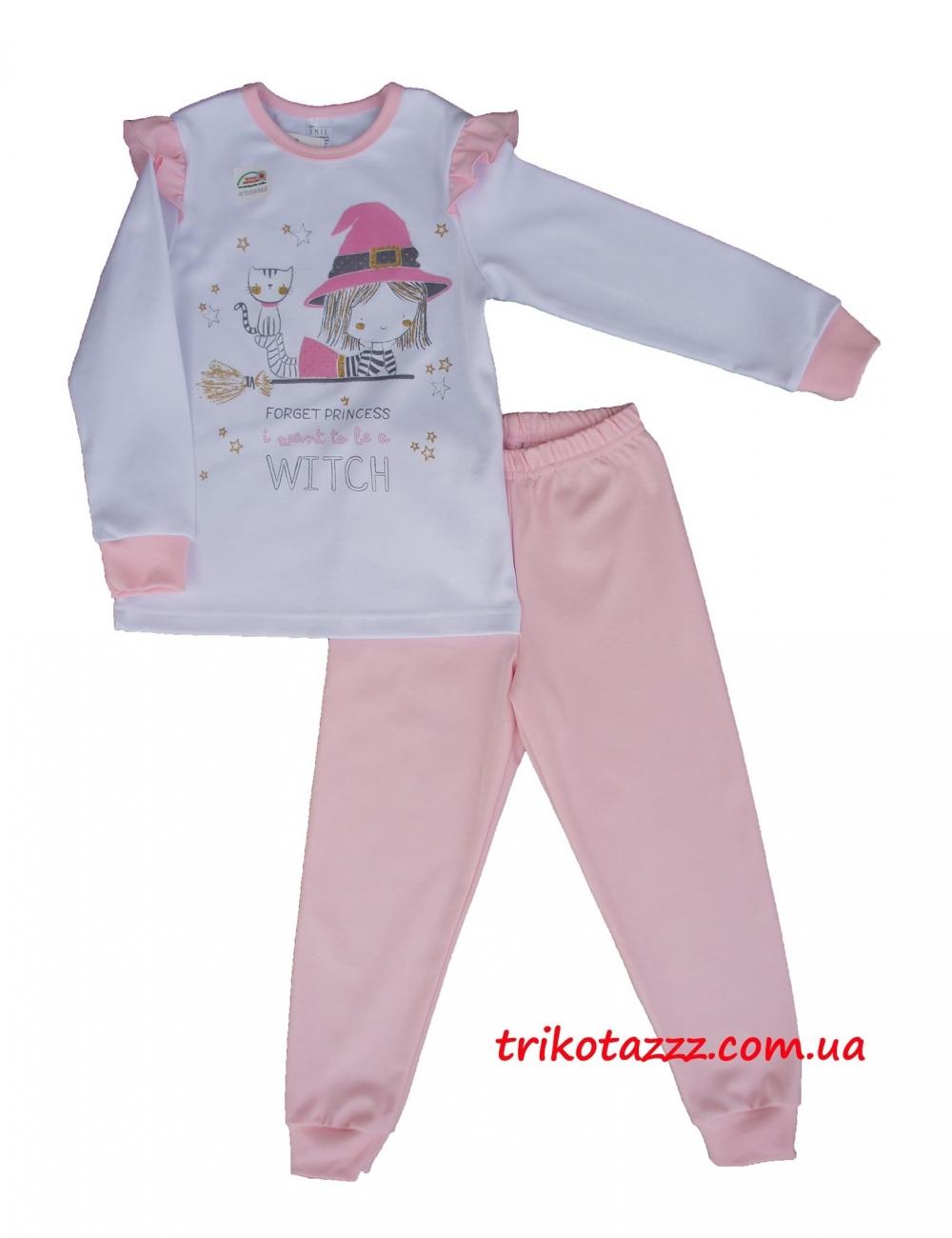 """Детская пижама для девочек (подростков) светящаяся в темноте тм""""Смил"""" Маленькая ведьмочка бело-розовая"""