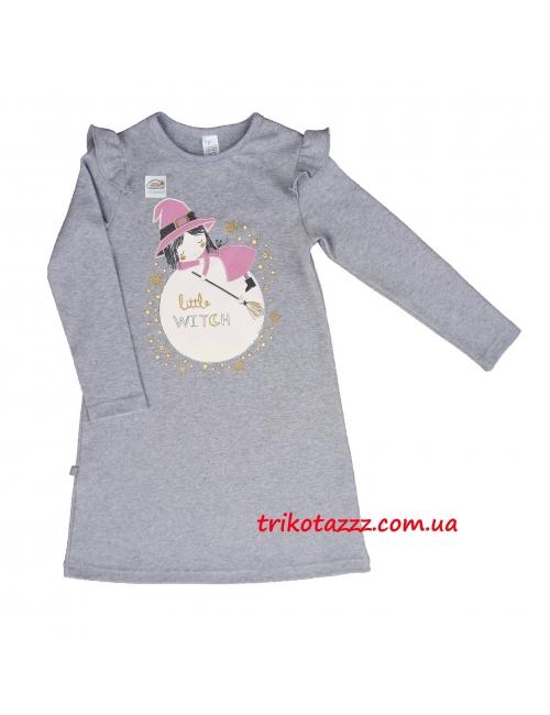 """Детская ночная рубашка светящаяся в темноте для девочек (подростков) тм""""Смил"""" Ведьмочка серый меланж"""