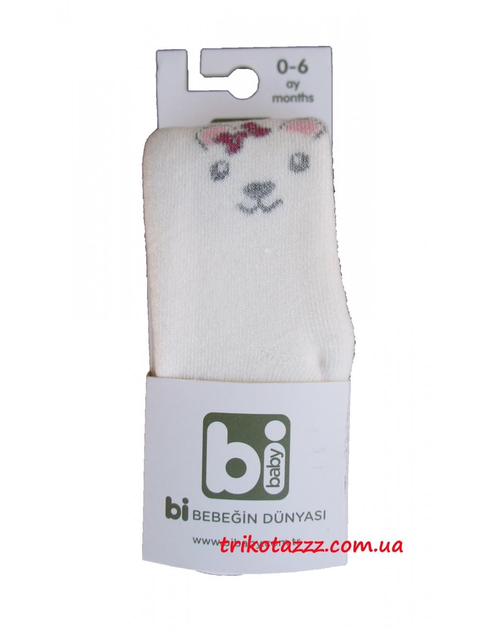 Детские махровые колготки для девочек Bibaby мордочки молочные