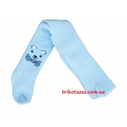 Детские махровые колготки для мальчиков Bibaby мордочки голубые