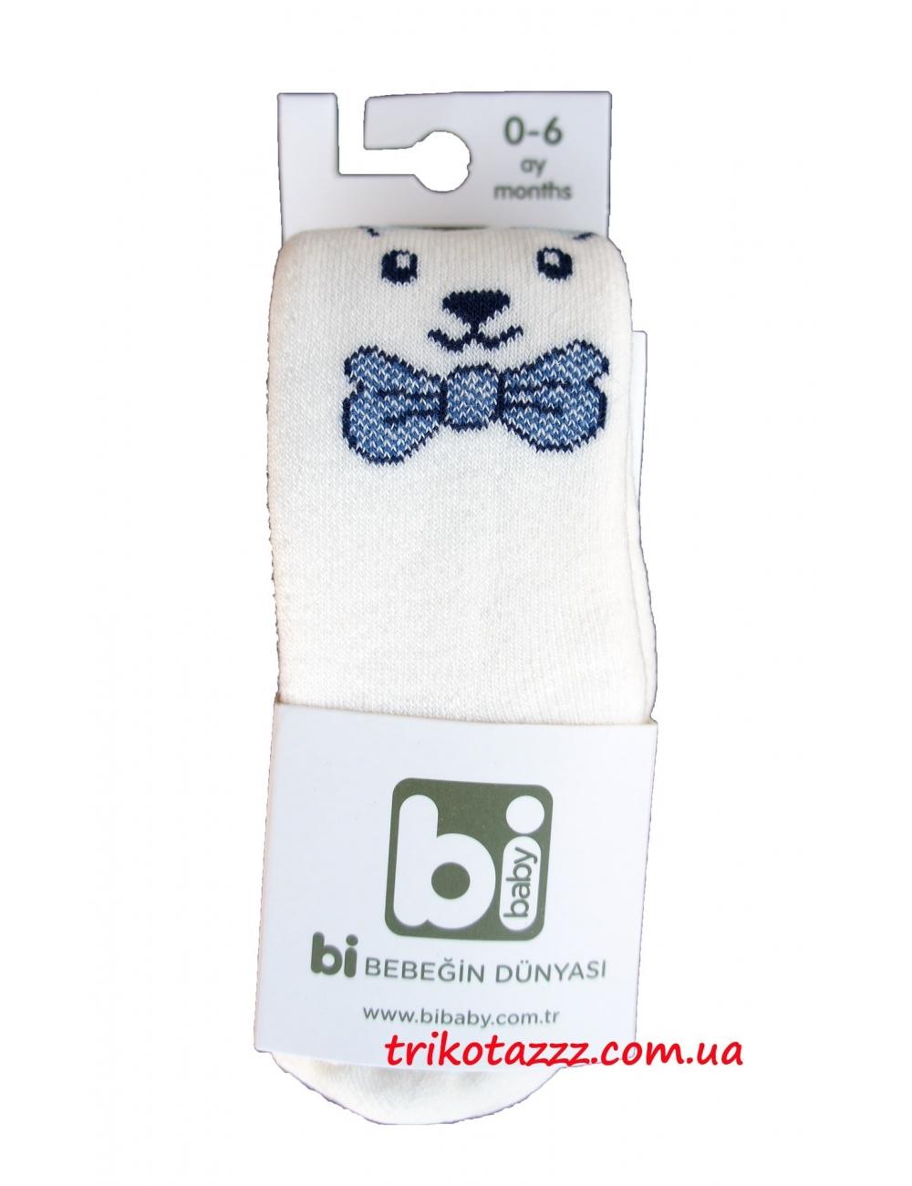 Детские махровые колготки для мальчиков Bibaby мордочки молочные