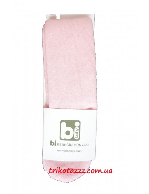 Детские махровые колготки для новорожденных девочек однотонные Bibaby розовые