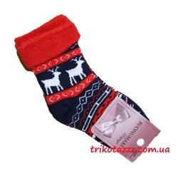 """Детские махровые носки тм""""Buonumare"""" с оленями темно-синие"""