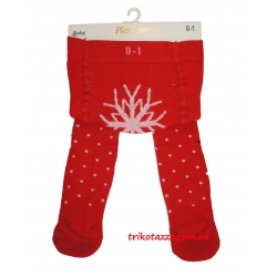 Теплые колготки для новорожденных девочек красные Pier Lone с оленями