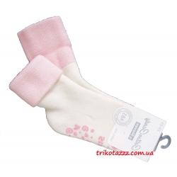 """Теплые носки для девочек с прорезиненной подошвой АВС тм """" Steven"""" кремовые с розовым отворотом"""