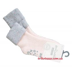 """Теплые носки для девочек с прорезиненной подошвой АВС тм """" Steven"""" розовые с серым отворотом"""