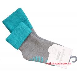 """Теплые носки для мальчиков с прорезиненной подошвой АВС тм """" Steven"""" серые с бирюзовым отворотом"""
