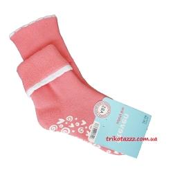 """Теплые носки для девочек с прорезиненной подошвой АВС тм """" Steven"""" розовые с отворотом"""