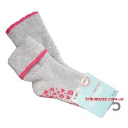 """Теплые носки для девочек с прорезиненной подошвой АВС тм """" Steven"""" серые с отворотом"""