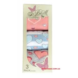 Набор носков для девочек (подростков) 3шт в коробке сердечки   UCS