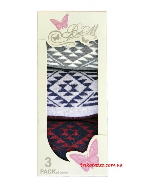 Набор носков для девочек (подростков) 3шт в коробке Орнамент UCS