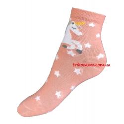"""Носки для девочек с единорогом тм""""Золото"""" коралловые"""