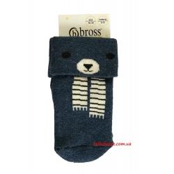 """Детские теплые носки для новорожденных мальчиков тм"""" Bross """" Мишка синие"""