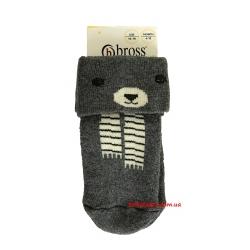 """Детские теплые носки для новорожденных мальчиков тм"""" Bross """" Мишка серые"""