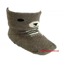 """Детские теплые носки для новорожденных мальчиков тм"""" Bross """" Мишка кофейные"""