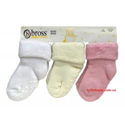 """Детские теплые носки для новорожденных девочек 3 шт тм"""" Bross """" белые"""