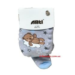 """Теплые колготки для новорожденных мальчиков тм""""Arti """" Мишка серые"""