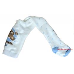 """Теплые колготки для новорожденных мальчиков тм""""Arti"""" Мишка белые"""