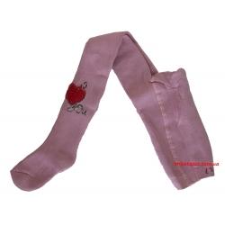 Детские теплые колготки со стразами Pier Lone пепельно-розовый с сердцем