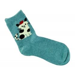 Теплые носки для девочек ( подростков ) Midini котик голубые